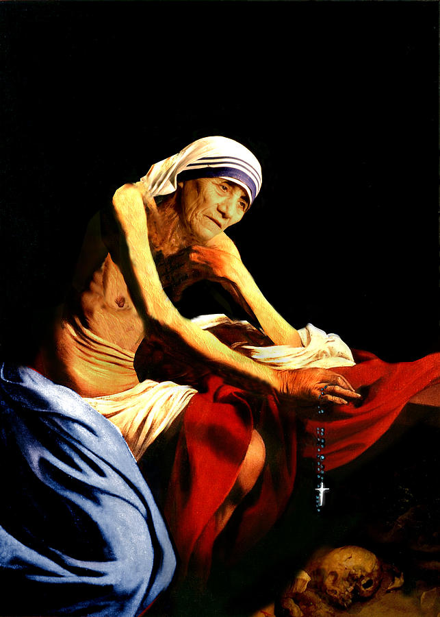 Mother Teresa Seated Nude Painting  - Mother Teresa Seated Nude Fine Art Print