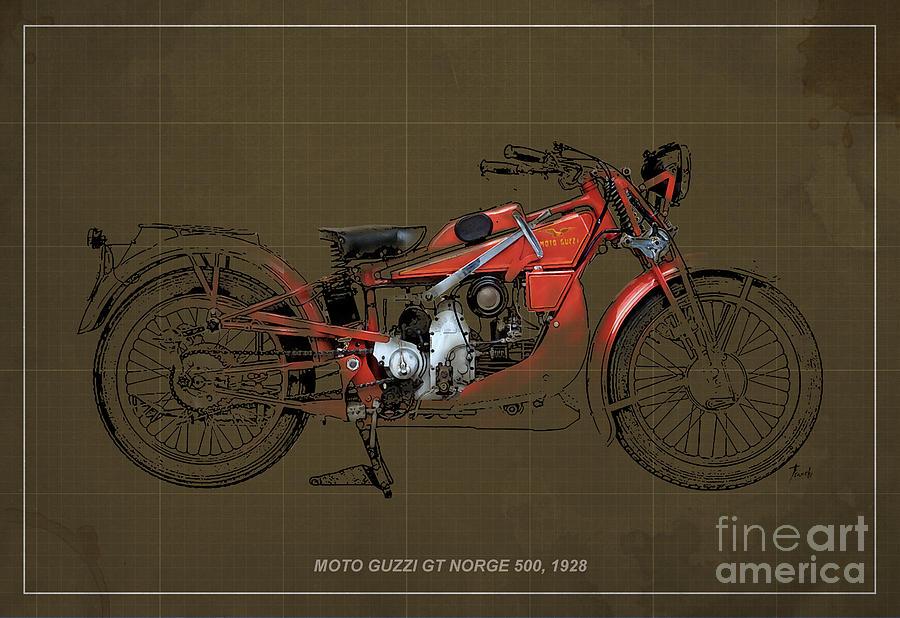 Le Mans Digital Art - Moto Guzzi Gt Norge 500 1928 by Pablo Franchi