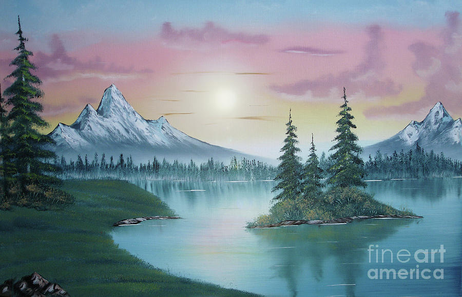 Mountain Lake Painting A La Bob Ross 1 Painting  - Mountain Lake Painting A La Bob Ross 1 Fine Art Print