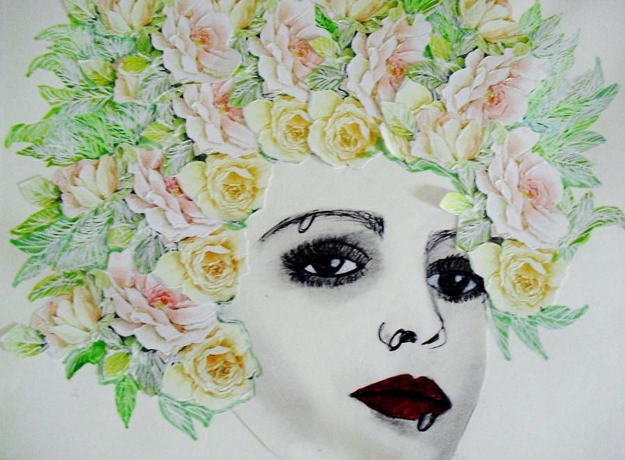 My Flowered Hat Mixed Media  - My Flowered Hat Fine Art Print