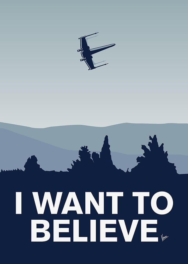 Classic Digital Art - My I Want To Believe Minimal Poster-xwing by Chungkong Art