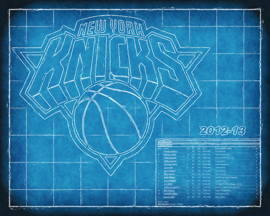 Ny Knicks Blueprint Photograph  - Ny Knicks Blueprint Fine Art Print