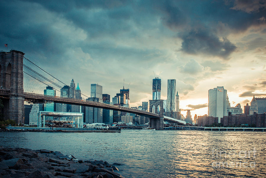 Nyc Skyline In The Sunset V1 Photograph  - Nyc Skyline In The Sunset V1 Fine Art Print