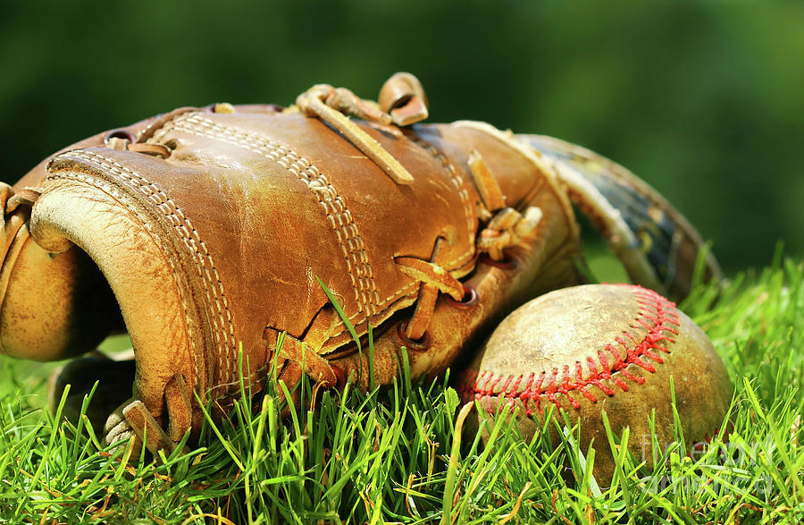 Old Glove And Baseball Photograph  - Old Glove And Baseball Fine Art Print