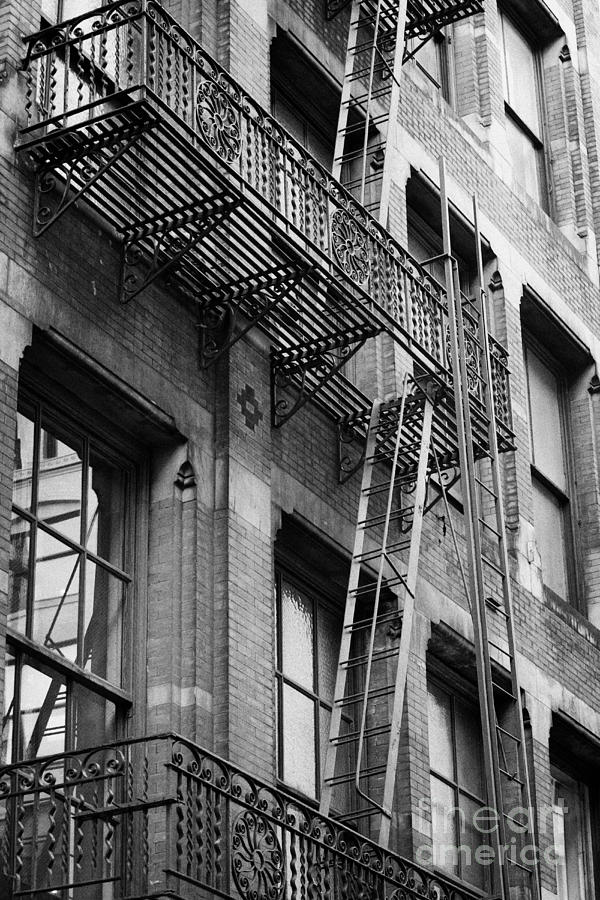 Old Metal Fire Escape Staircase On Side Of Building Greenwich Village New York City Photograph  - Old Metal Fire Escape Staircase On Side Of Building Greenwich Village New York City Fine Art Print