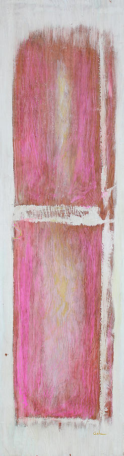 Abstract Painting On Wood Painting - Old Pink Kitchen Door Emanating Light by Asha Carolyn Young