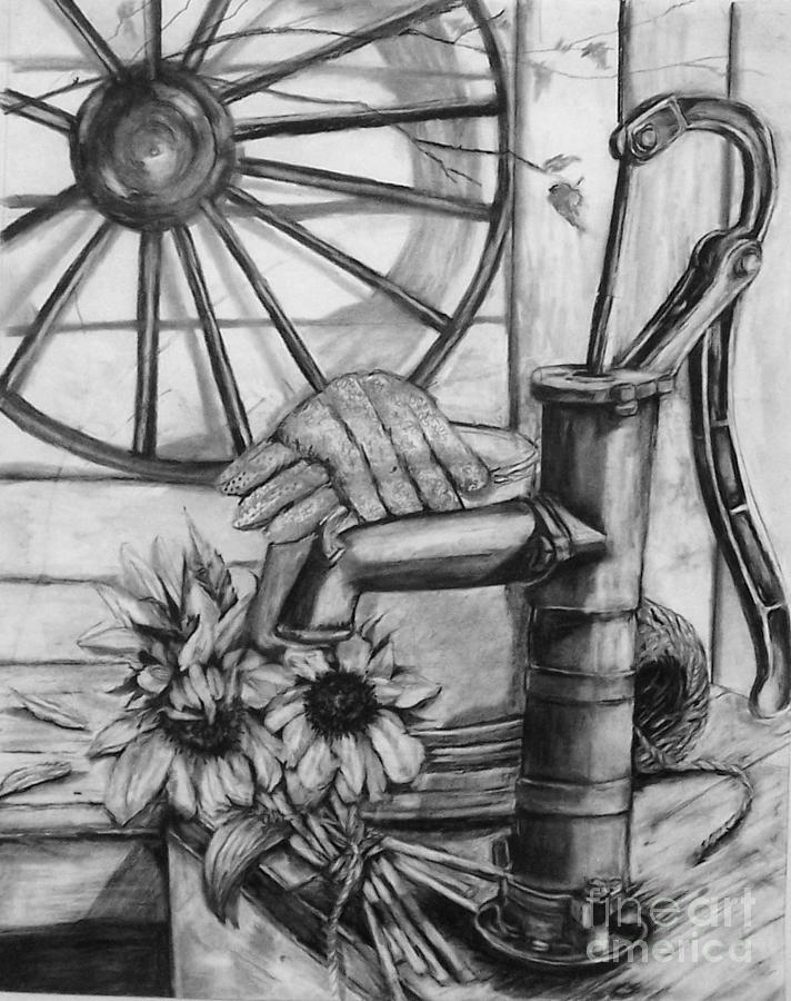 Old Water Pump Drawing  - Old Water Pump Fine Art Print