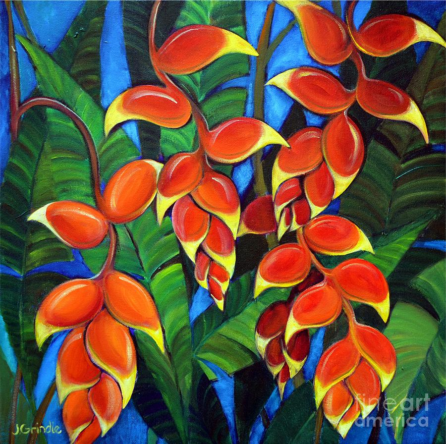 Orange Heliconia Painting by Jerri Grindle