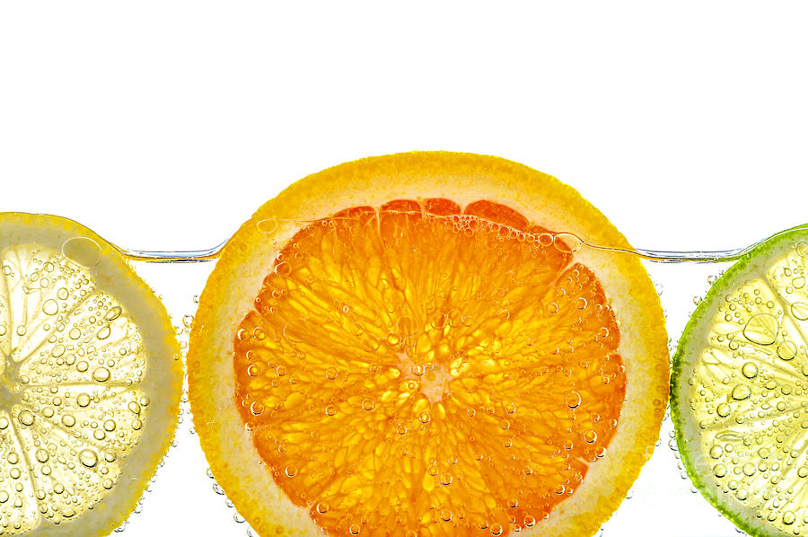 Orange Lemon And Lime Slices In Water Photograph  - Orange Lemon And Lime Slices In Water Fine Art Print