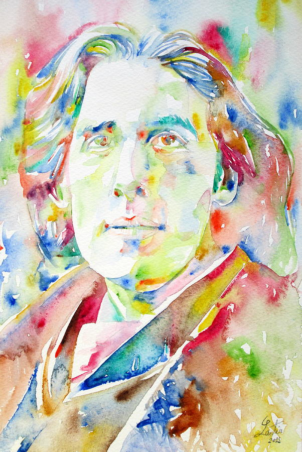 Oscar Wilde Watercolor Portrait.1 Painting  - Oscar Wilde Watercolor Portrait.1 Fine Art Print