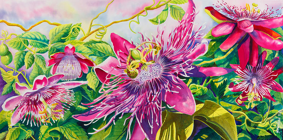 Passionflower Party Painting  - Passionflower Party Fine Art Print
