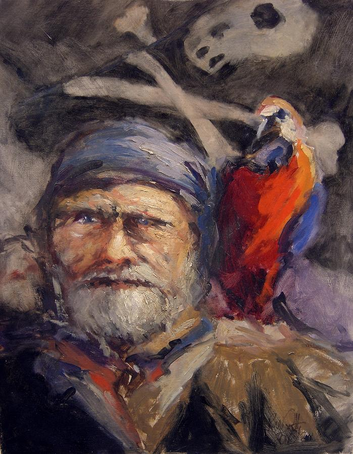 Pirate With Bird And Flag Painting  - Pirate With Bird And Flag Fine Art Print