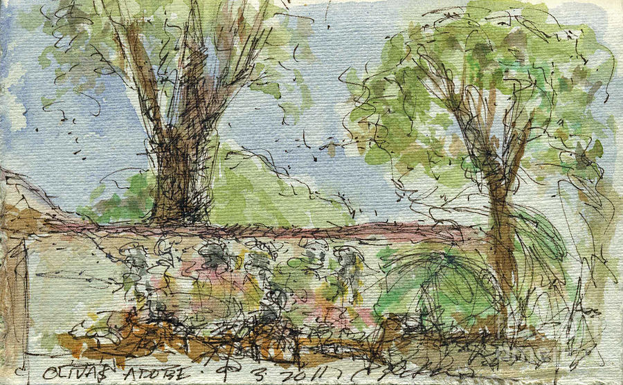 Plein Air Sketchbook.  Olivas Adobe Ventura California Concert. 9.3.2011.  Painting