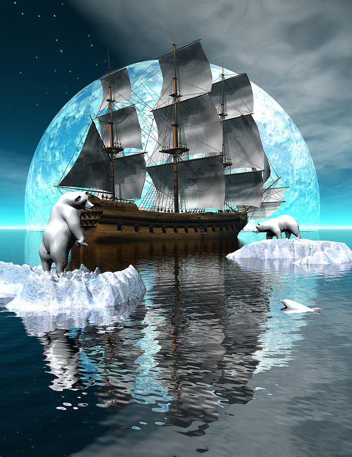 Polar Expedition Digital Art  - Polar Expedition Fine Art Print