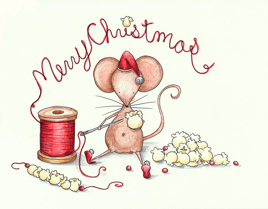 Popcorn Mouse Drawing  - Popcorn Mouse Fine Art Print