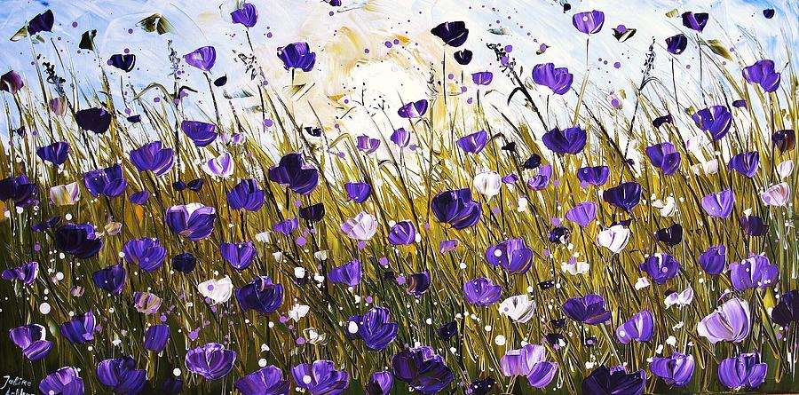 Poppis In Purple Painting  - Poppis In Purple Fine Art Print