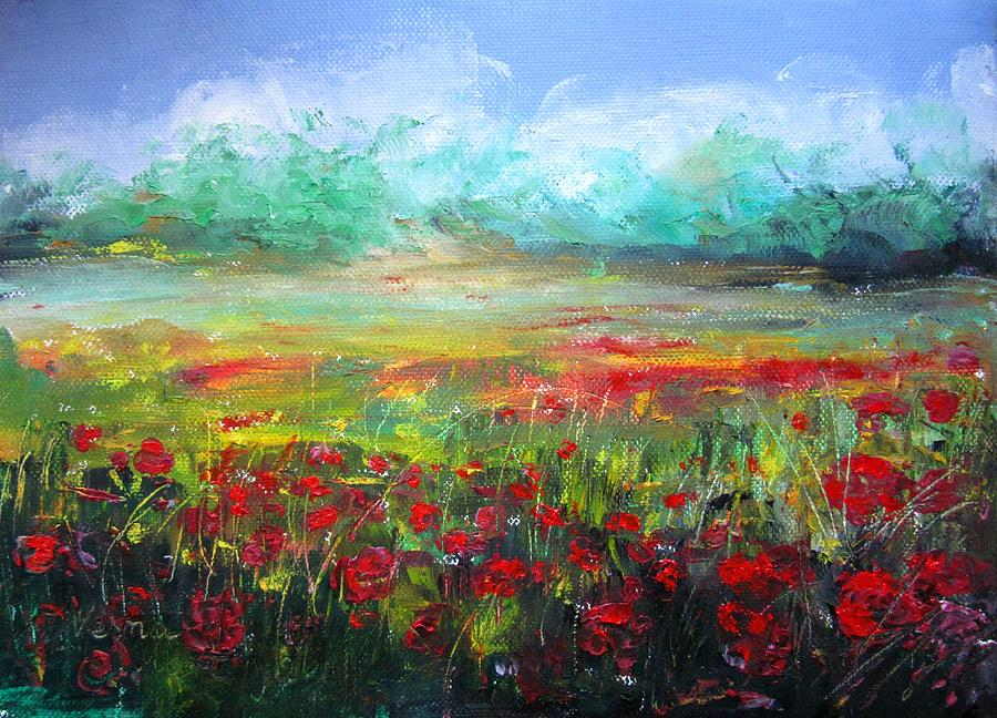 Poppy Fields Painting  - Poppy Fields Fine Art Print