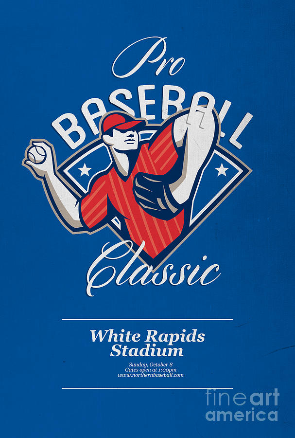 Pro Baseball Classic Tournament Retro Poster Digital Art