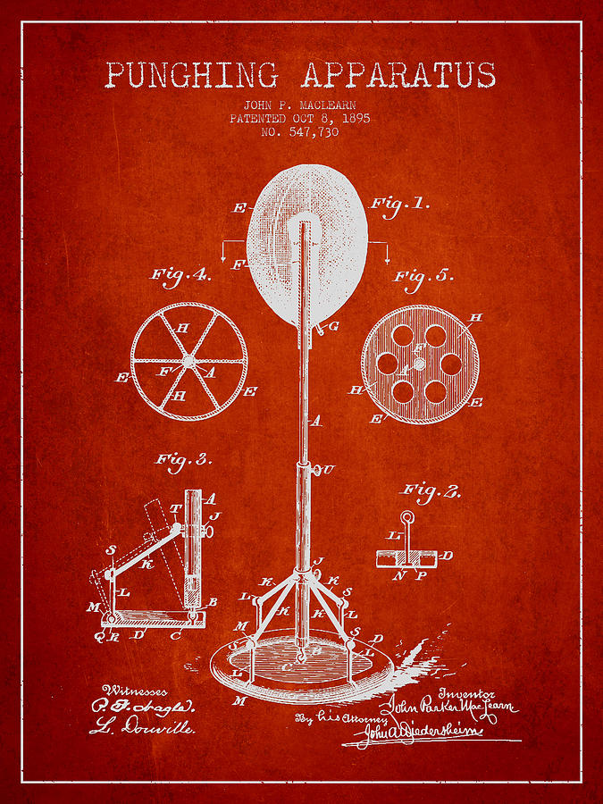 Punching Bag Drawing - Punching Apparatus Patent Drawing From1895 by Aged Pixel