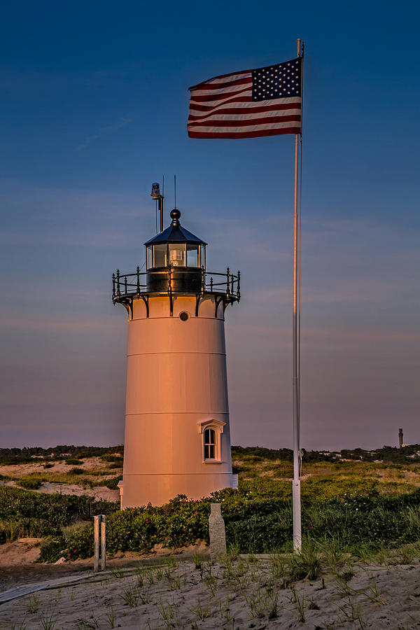 Race Point Lighthouse And Old Glory Photograph