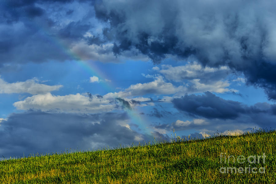 Rainbow Over Pasture Field Photograph