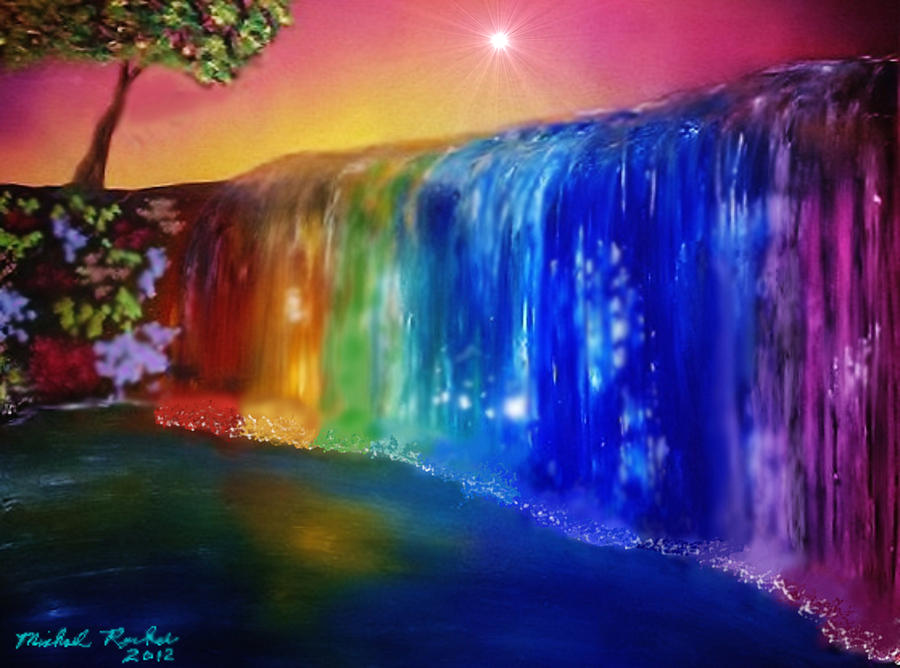 Rainbow Waterfall Painting  - Rainbow Waterfall Fine Art Print