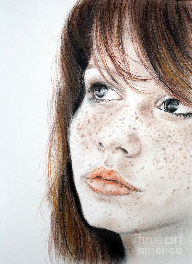 Red Hair And Freckled Beauty Pastel  - Red Hair And Freckled Beauty Fine Art Print