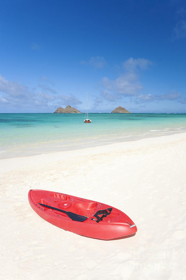 Red Kayak At Lanikai Photograph