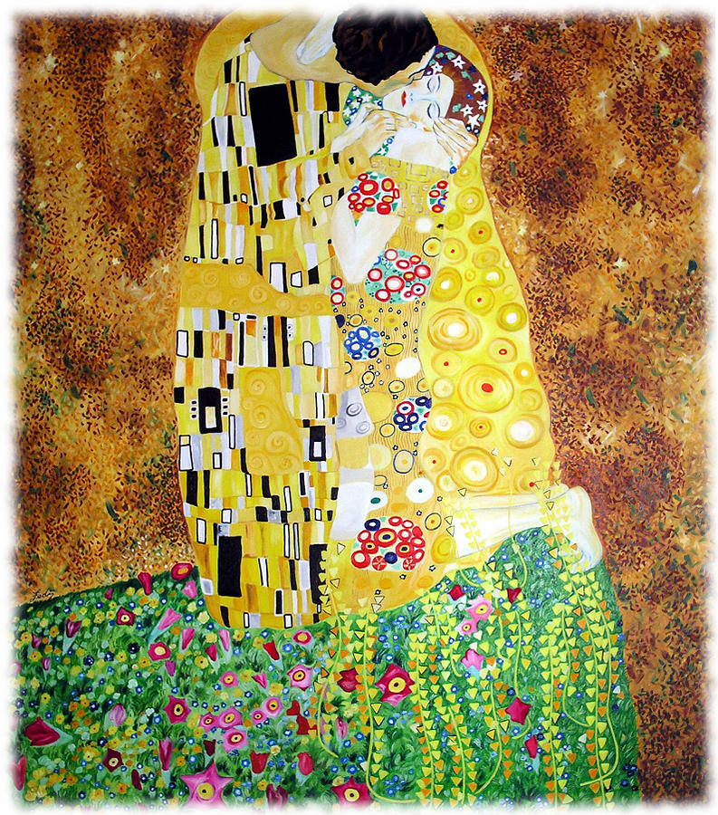 Reproduction Of - The Kiss By Gustav Klimt Painting by Ze Di