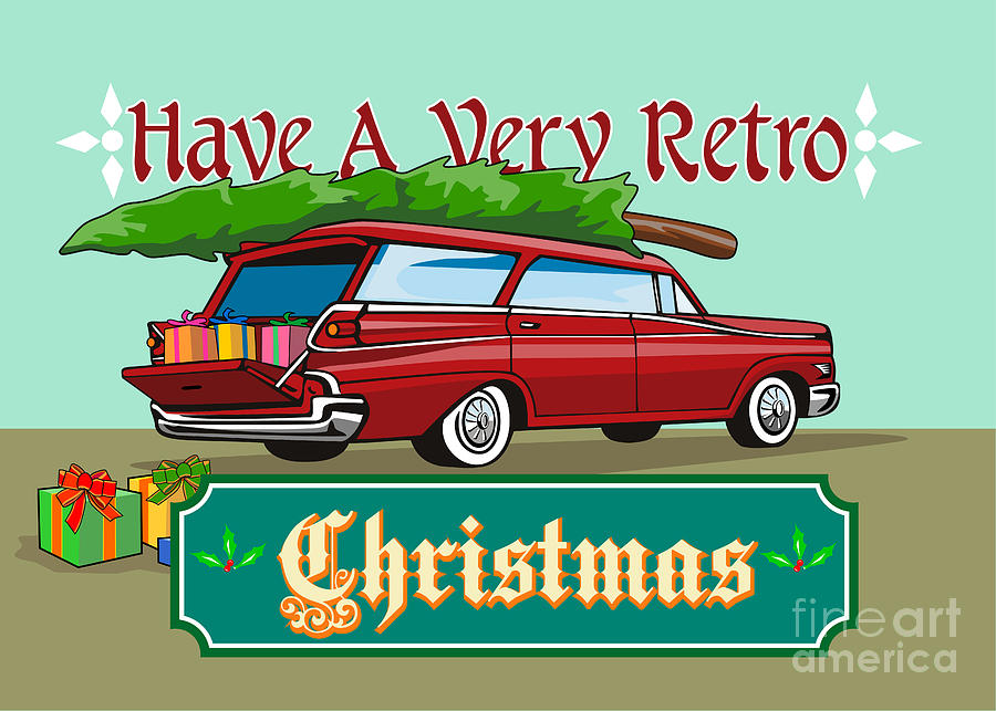 Retro Christmas Tree Station Wagon Digital Art  - Retro Christmas Tree Station Wagon Fine Art Print