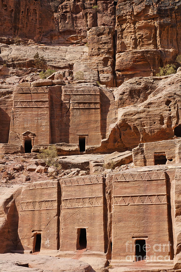 Tombs Photograph - Rock Cut Tombs On The Street Of Facades Petra Jordan by Robert Preston