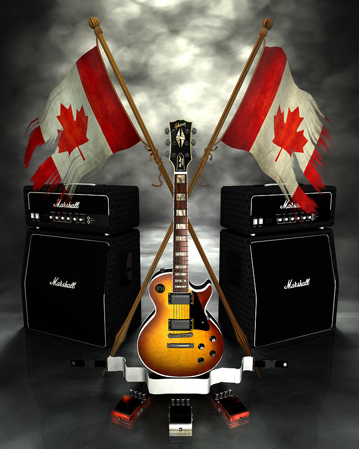 Rock N Roll Crest - Canada Digital Art