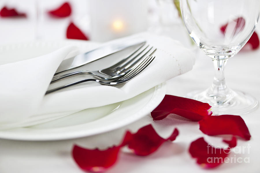 Romantic Dinner Setting With Rose Petals Photograph  - Romantic Dinner Setting With Rose Petals Fine Art Print