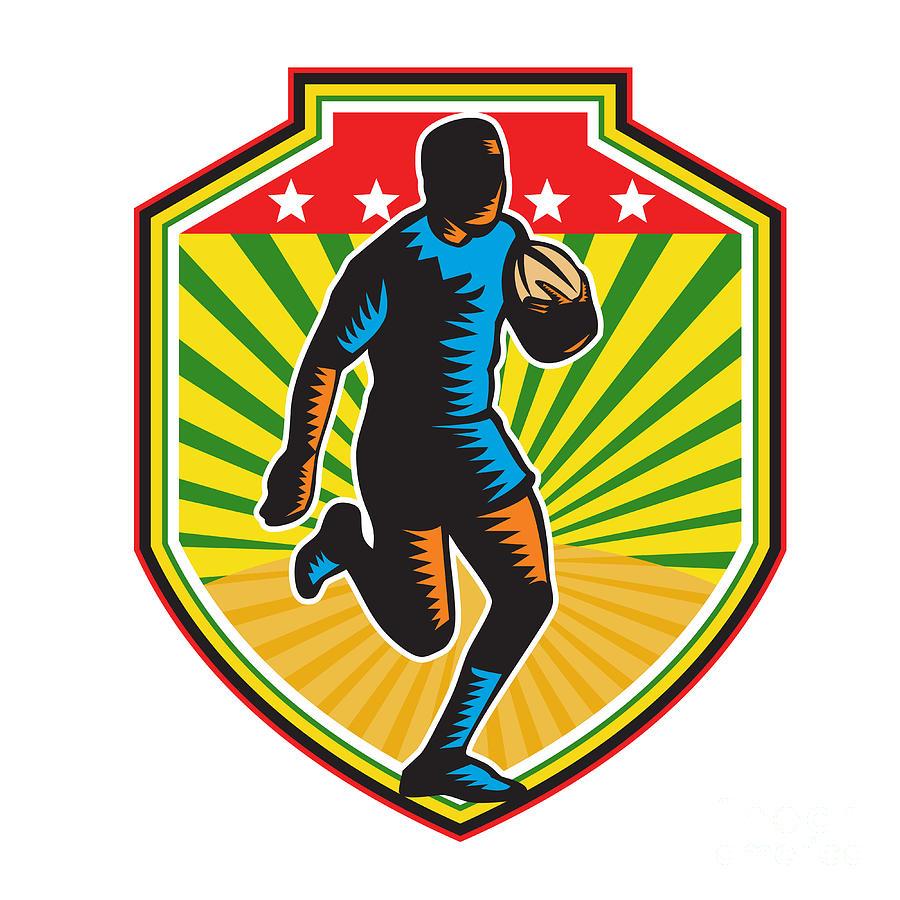 Rugby Player Running Ball Shield Retro Digital Art
