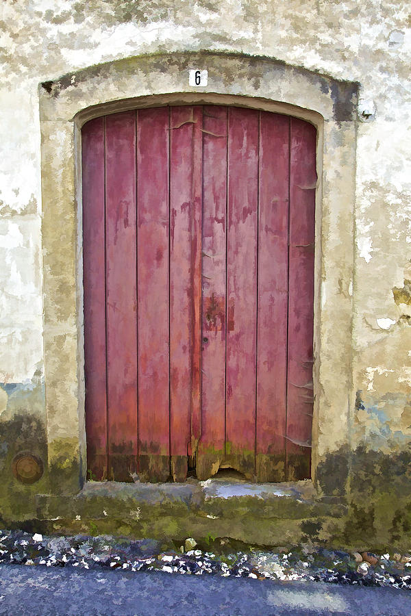 Rustic Red Wood Door Of The Medieval Village Of Pombal Photograph  - Rustic Red Wood Door Of The Medieval Village Of Pombal Fine Art Print