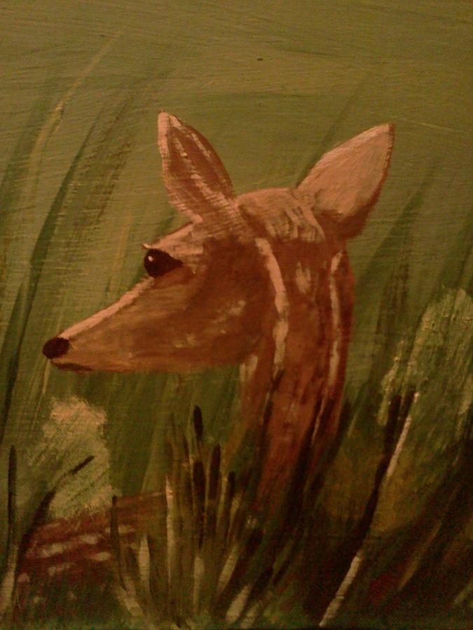 Landscape. With Fawn Hidden. Among. Tall Grasses  Painting - Safe From Harm by Renee McKnight