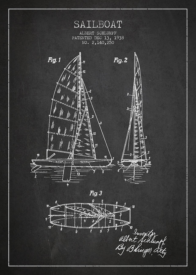 Sailboat Patent Drawing From 1938 Drawing