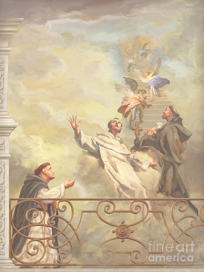 Saints Dominic Benedict And Francis Of Assisi II Painting  - Saints Dominic Benedict And Francis Of Assisi II Fine Art Print