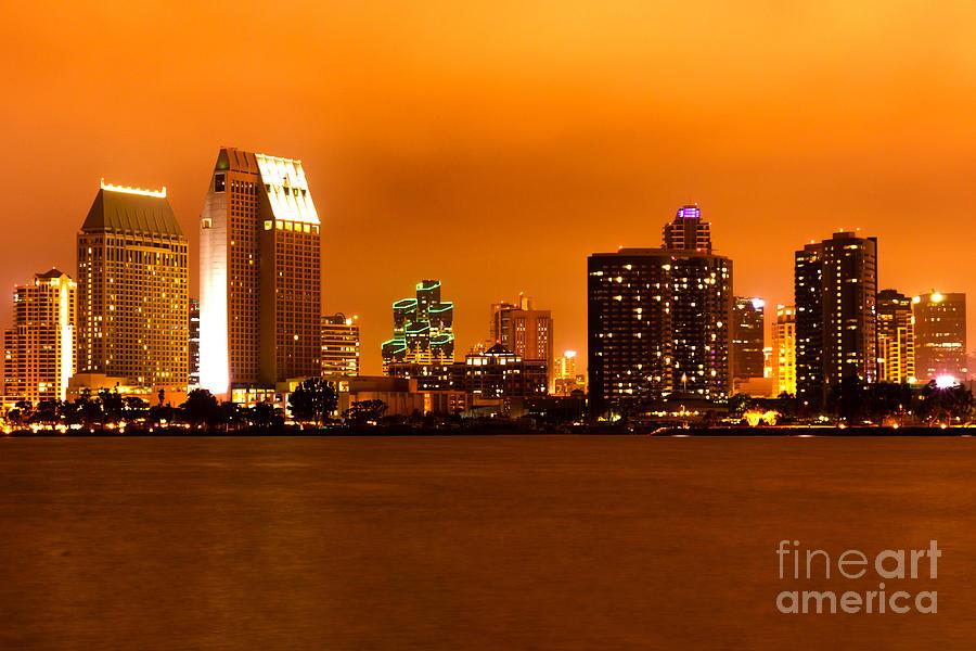 San Diego Skyline At Night Photograph
