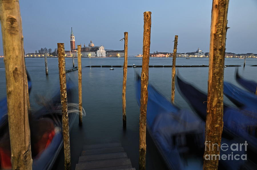 San Giorgio Maggiore Church And Gondolas At Dusk Photograph