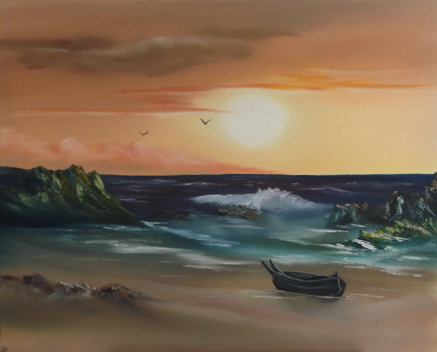 Seascape At Sunset Painting  - Seascape At Sunset Fine Art Print