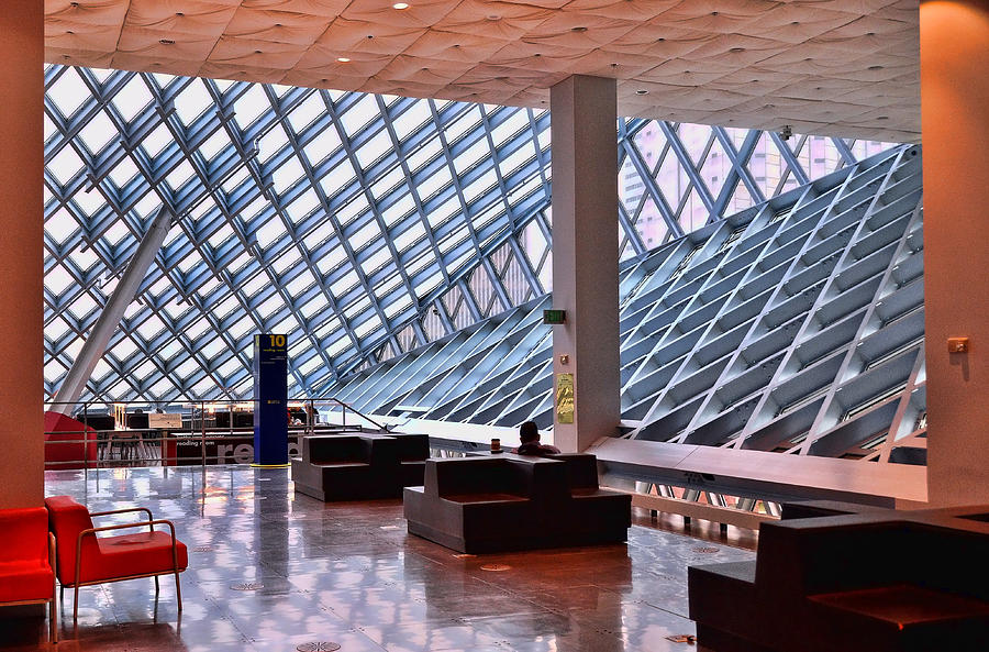 Blue Photograph - Seattle Library Reading Room 2 by Allen Beatty