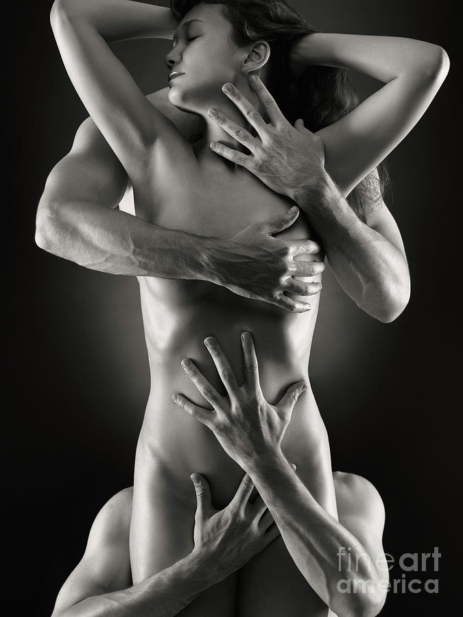 Sensual Photo Of Male Hands Embracing A Woman Photograph  - Sensual Photo Of Male Hands Embracing A Woman Fine Art Print