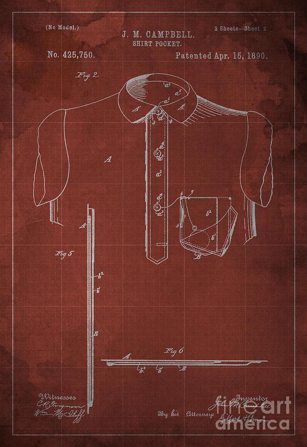 Shirt Pocket Blueprint Patent Digital Art