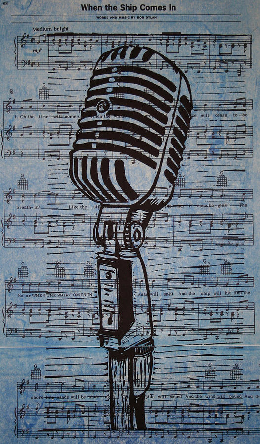 Shure 55s On Music Drawing  - Shure 55s On Music Fine Art Print