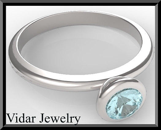 Gemstone Jewelry - Silver Engagement Ring With Blue Topaz by Roi Avidar