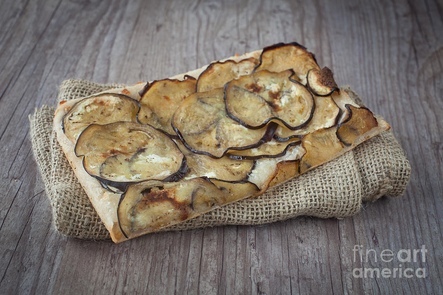 Sliced Pizza With Eggplants Photograph  - Sliced Pizza With Eggplants Fine Art Print