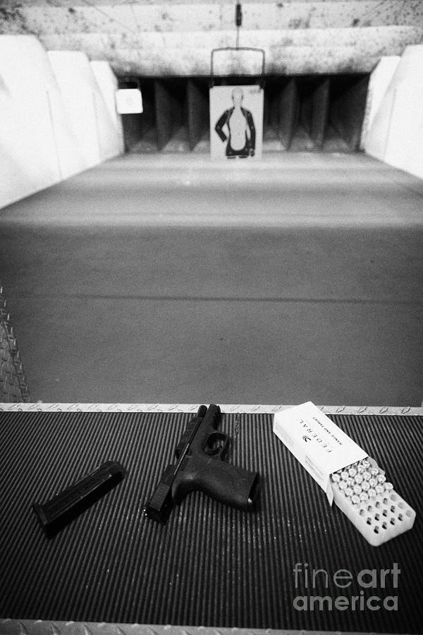 Smith And Wesson 9mm Handgun With Ammunition At A Gun Range In Florida Usa Photograph