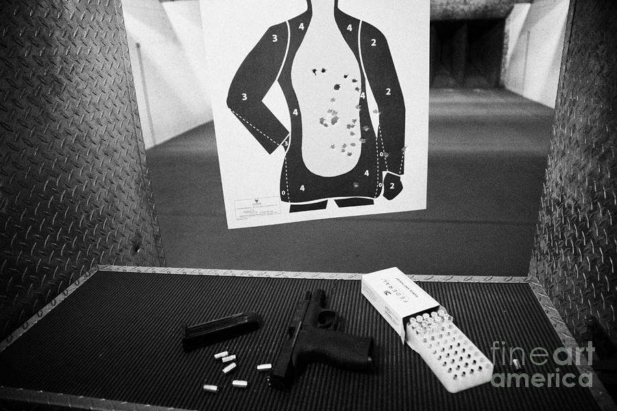 Smith And Wesson 9mm Handgun With Ammunition At A Gun Range Photograph  - Smith And Wesson 9mm Handgun With Ammunition At A Gun Range Fine Art Print