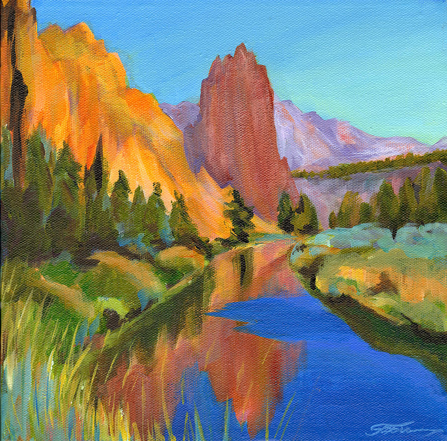 Contemporary Painting Painting - Smith Rock Canyon by Tanya Filichkin